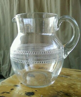 1920s elegant blown glass etched crystal pitcher with polished pontil