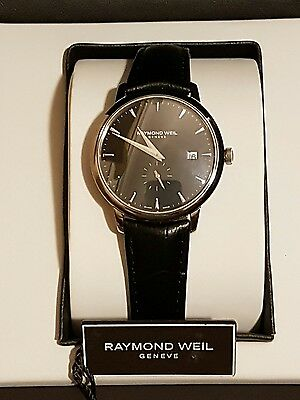 Raymond Weil Mens Toccata Quartz Leather Watch - Black