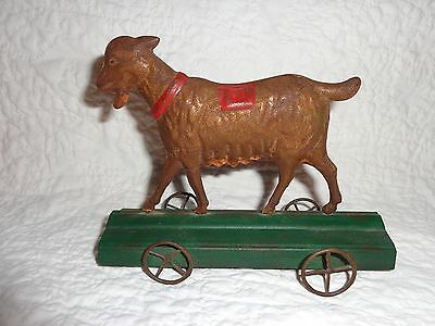 Antique Tin Goat Pull Toy with Metal Wheels & Original Paint