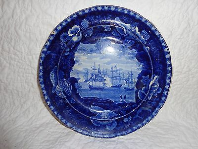 19th.c Historical Blue Commodore MacDonnough's Victory Pattern Plate, Antique
