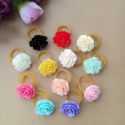 10pcs Pet dogs resin rose Hair rubber bands puppy grooming hair rope accessories
