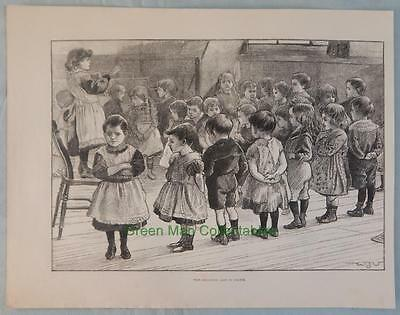 """Antique Print From """"Illustrated London News"""" Group of Small Children at School"""
