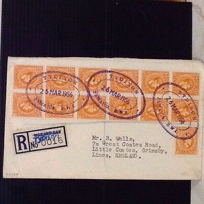 1956 Jamaica cover cancelled violet double ring oval rubber for TYDIXON regd