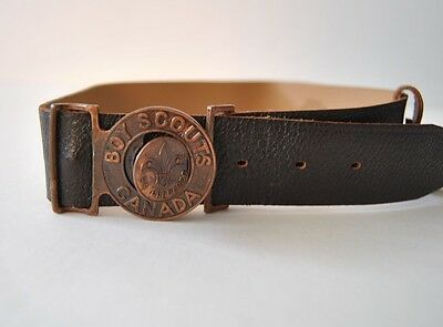 Vintage Canada Boy Scout Interlocking Belt Buckle + Leather Belt sz 28 Brown