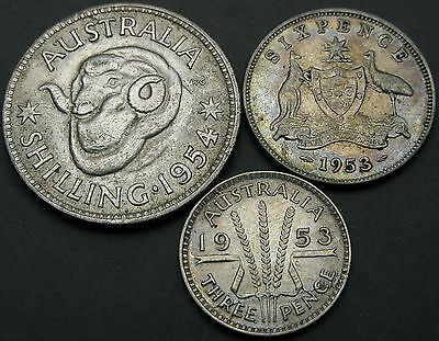 AUSTRALIA 3, 6 Pence, 1 Shilling 1953/1954 - Silver - 3 coins - 2225 猫