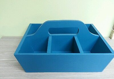 Sectioned Blue Wooden Tray With Handle