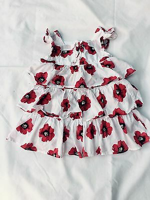 Dress Toddler Girls 12-18 Month Floral Old Navy White With Red Hibiscus