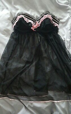 ANN SUMMERS! size 8 pink and black babydoll