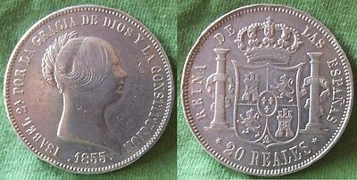 20 Reales – Isabel II – 1855 – Madrid – Bonita moneda