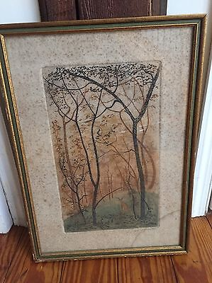 Paul Lancaster Signed Art Hand Colored Etching Forest With Deer Slight Damages