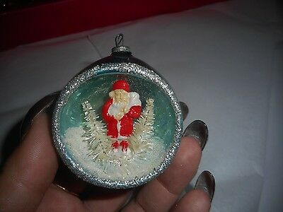 Vintage Christmas Bulb Indented Santa With White Tree's