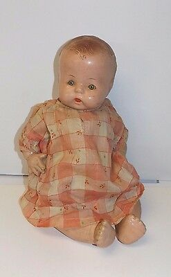 """Antique 15"""" Composition & Cloth Baby Doll Orig. Dress - Tin Eyes Squeaker Works"""