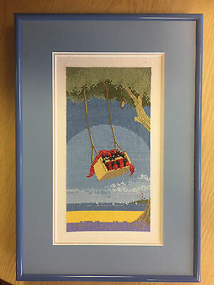 Framed completed LITTLE BLACK CAT cross stitch picture SWINGING by Toni Goffe