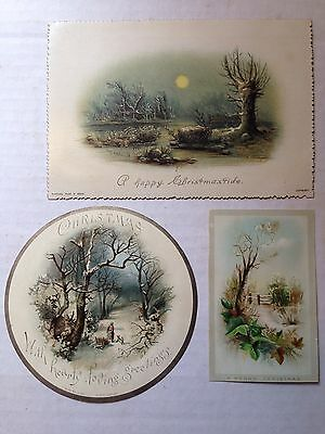 3 Antique Victorian Christmas Cards 1885