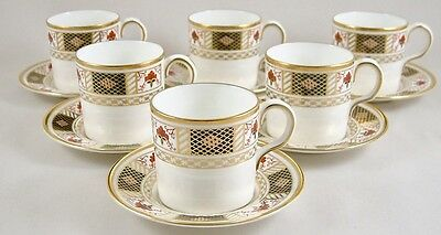 Royal Crown Derby China Derby Border Coffee Can/cups & Saucers 1St Perfect!