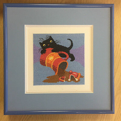 Framed completed LITTLE BLACK CAT cross stitch picture COFFEE ToniGoffe HERITAGE