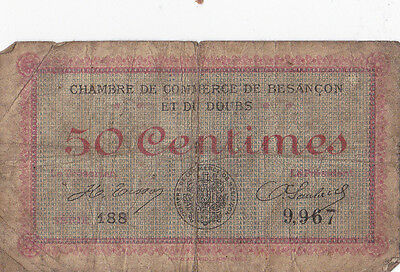 Antique French 50 Centimes Note Dating From Around 1900