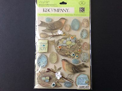 K & Company Botanical Robin Stickers with Glitter 3D with Embellishments