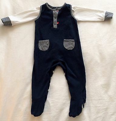 Mothercare Baby Boy Navy And White All In One And Bodysuit Set 3-6 Months