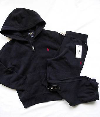 NEW Ralph Lauren Boys Navy Blue Hoody Joggers Outfit Tracksuit 5-6 years