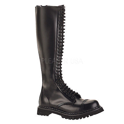 Demonia Rocky 30 Unisex Boots Biker 30 Eyelet Goth Punk Black Leather Knee