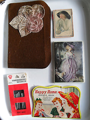 Vintage Needlecases And Pack Embroidery Needles
