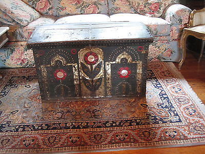 Antique Trunk Primitive Chest Trunk Wood & Tin Hand Decorated  Circa 1800's