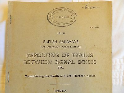 B.R.Reporting of Trains between Signalboxes etc Number 8