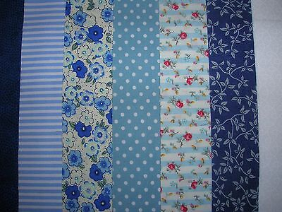 """7 Jelly Roll Strips Blue 44"""" X 2.5""""  100% Cotton Patchwork/quilting Aucf"""