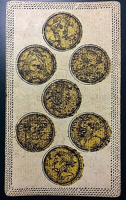 Seven of Coins c1820 Antique Tarot Playing Cards Italy Authentic Painted Single