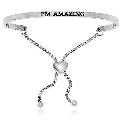 Silver Plated Stainless Steel I'm Amazing Adjustable (.005ct) Diamond Bracelet