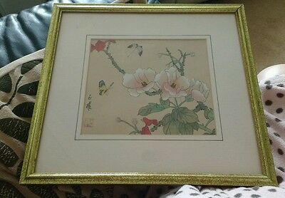 Very old Chinese painting on silk about flowers and butterfly
