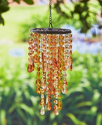 Amber Crystal Chandelier Wind Chime Windchime Patio Deck Tree Outdoor Home Decor