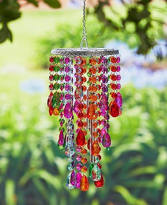 Multicolor Crystal Chandelier Wind Chime Windchime Patio Deck Tree Outdoor Decor