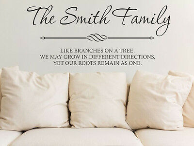 PERSONALISED Wall Quote  (70cm x 28cm) Modern Wall Art Sticker, Vinyl Decal