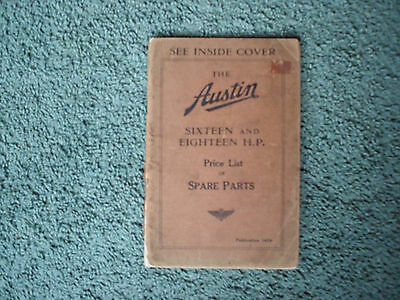 Price List Of Spare Parts For The Vintage Austin Sixteen 16 & Eighteen 18