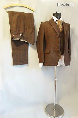 Dapper Vtg 1950s Brown Red Check Gieves Savile Row 3 Piece Suit Cuff Trousers