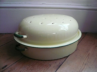 Vintage Enamel Casserole Cream and Green Oval with Lid