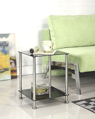 2 Tier Black or Clear Glass Side Coffee Lamp Table Chrome Legs Stylish Design