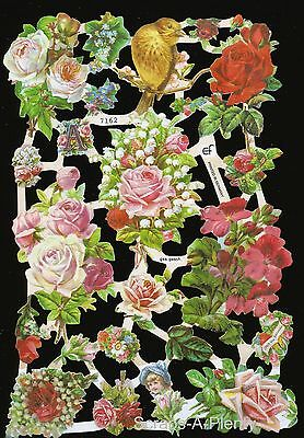 German Embossed Vintage Style Scrap Die Cut Relief - Roses & Golden Bird EF7162
