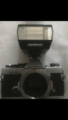 OLYMPUS OM-2n REFLEX CAMERA  +lens- Obiettivo+flash LOOK PHOTOS!!!Very good !!