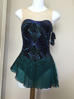 Icings New AXS BLACK/TURQUOISE COMPETITION ICE ROLLER SKATING DANCE BATON DRESS