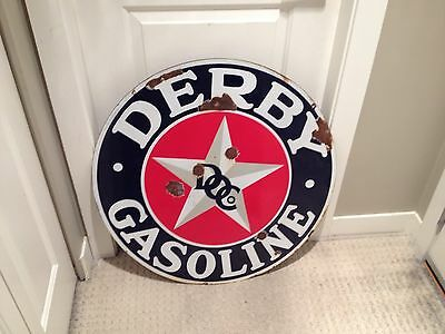 "Derby Porcelain Gasoline Sign 30"" advertising Rare Vintage 1940's Original"