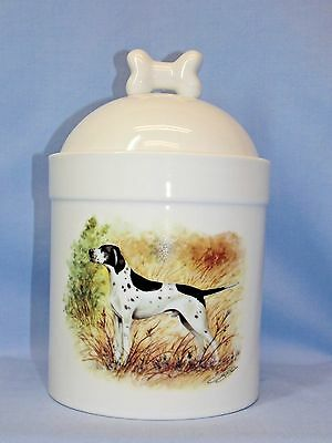 English Pointer Dog Black/White Porcelain Treat Jar Fired Head Decal 8 In Tall
