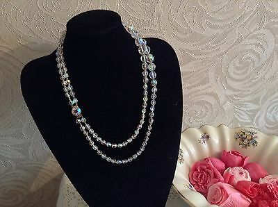 VINTAGE SPARKLING DOUBLE STRING CRYSTAL LADIES NECKLACE �� CLASSIC 1950's STYLE