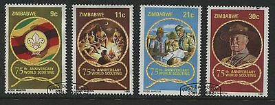 Zimbabwe: 1982 Boy Scouts 75th Anniversary set of 4 stamps SG616-619 Used- AF280
