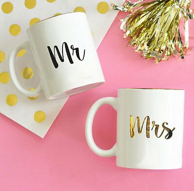 Mr. Mrs. White Gold Coffee Mug Bride Groom Wedding Gift Keepsake Q47110