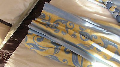 "Pair Of Lined Curtains Yellow And Blue With Tie Backs 52"" Drop"