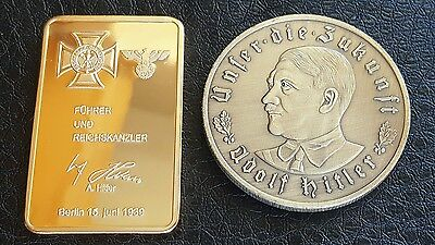 Set Of Two Commemorative 24K A Hitler  Gold Plated German Bullion Bar And Coin