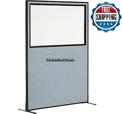 "Cubicle Partition Office Panel Window Freestanding Wall 48-1/4"" W x 72"" H Blue"